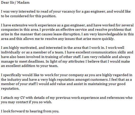 application letter for and gas company gas engineer cover letter exle learnist org