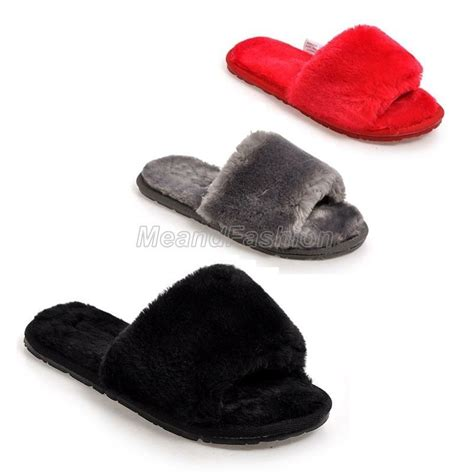 open toe house slippers womens winter open toe warm fluffy indoor home