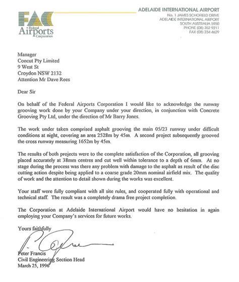 recommendation letter australia recommendation