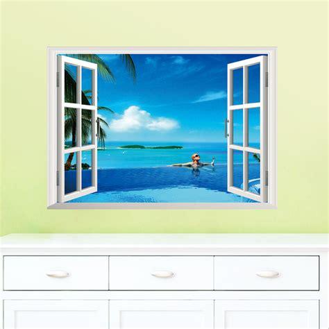 window wall sticker removable sea 3d window decal wall sticker home
