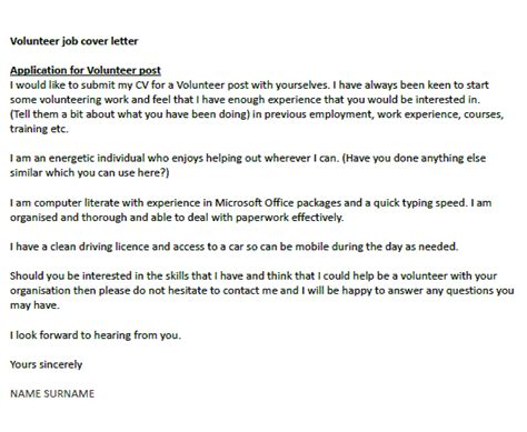 cover letter for a volunteer position volunteer cover letter exle icover org uk