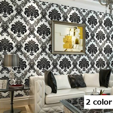 luxury flocking textured wallpaper modern wall paper roll modern high quality vintage european damask wallpaper