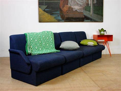 modular settees mid century indigo blue large modular sofa settee arm