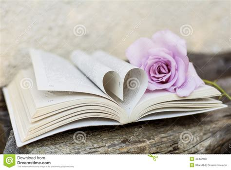 libro a heart so white open book with rose on a wooden background stock photo image 49472602