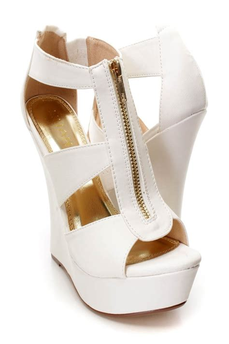 Sandal Wedges Wg45 White white strappy front zipper platform wedges faux leather