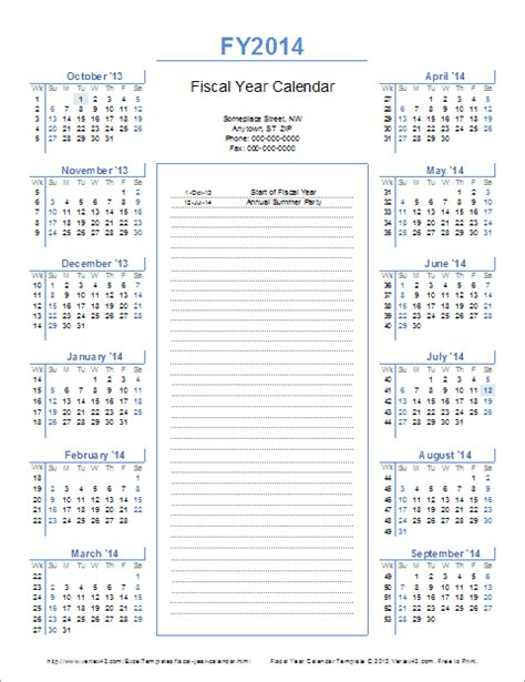 fiscal year calendar template fiscal year calendar template for 2014 and beyond