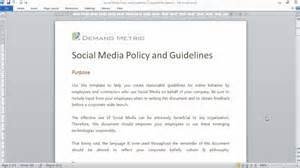 template guidelines social media policy and guidelines template