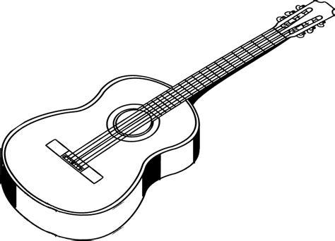 acoustic guitar coloring page guitar outline clip art cliparts co