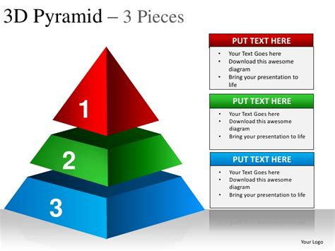 3d pyramid template 3d pyramid 3 pieces powerpoint presentation templates