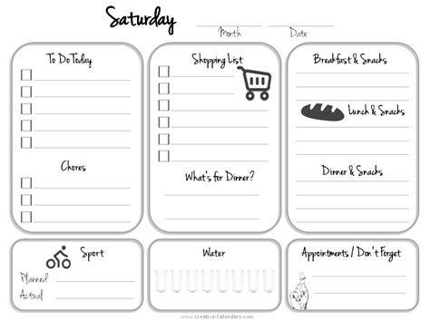 Sat On Sunday Daily Planner Template