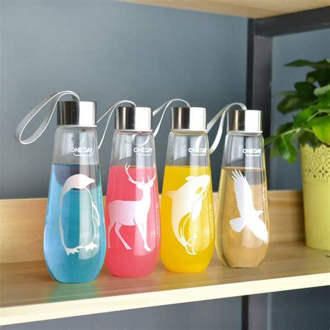 bulk barware 480ml water bottle with bag leak proof glass water bottle