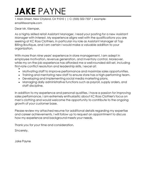 Assistant Supervisor Cover Letter by Best Retail Assistant Manager Cover Letter Exles Livecareer