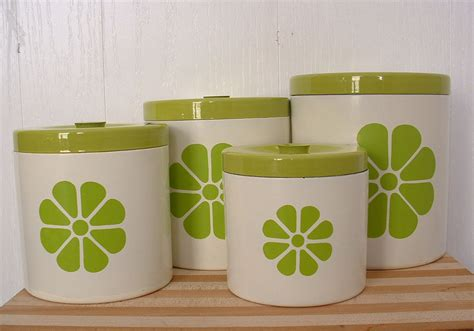 kitchen canister set with lids lime green by timelesschick