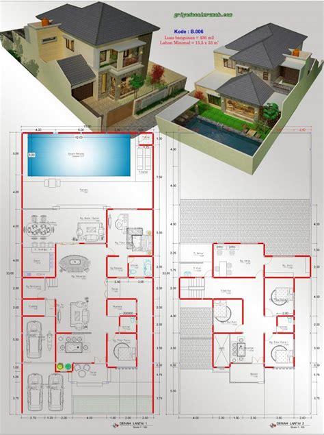 gambar denah rumah  lantai  kamar tidur kolam renang denah