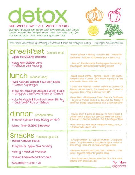 Arbonne Detox Meal Plan by Print Out My Free One Day Organic Detox Meal Plan