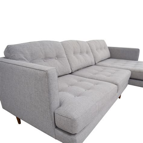 west elm chaise 39 off west elm west elm grey tufted chaise sectional