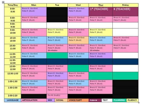 speech schedule template color coordination and scheduling for slp school day