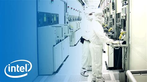 intel room working in the clean room inside the fab intel