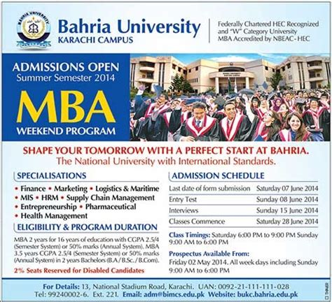Mba Weekend Programs In Iqra by Hamdard Karachi Admissions 2015