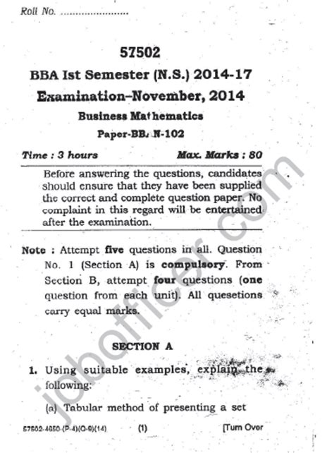 Mdu Question Papers Mba 1st Sem by Maharshi Dayanand Bba 1st Sem Bban 102