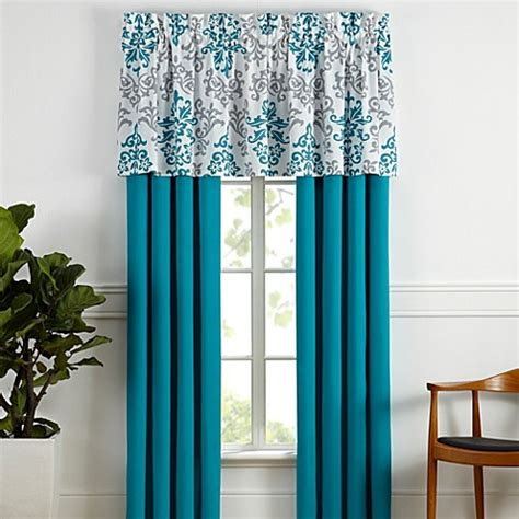 Turquoise Valances For Windows Inspiration Window Curtain Panel Pair And Valance In Turquoise Bed Bath Beyond