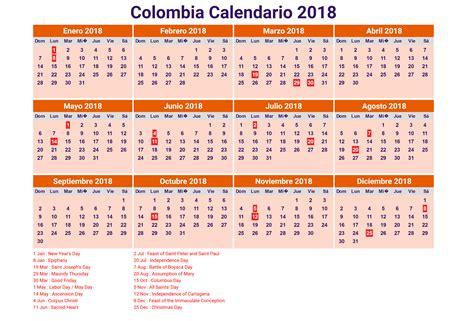 Calendario 2017 Colombia Con Festivos Y Semana Santa Calendario 2018 Colombia Con Feriados Para Imprimir