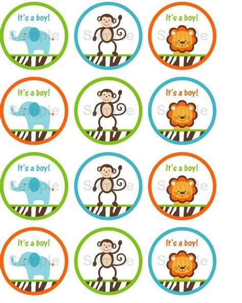 printable jungle animal labels 17 best images about cupcake toppers on pinterest jungle
