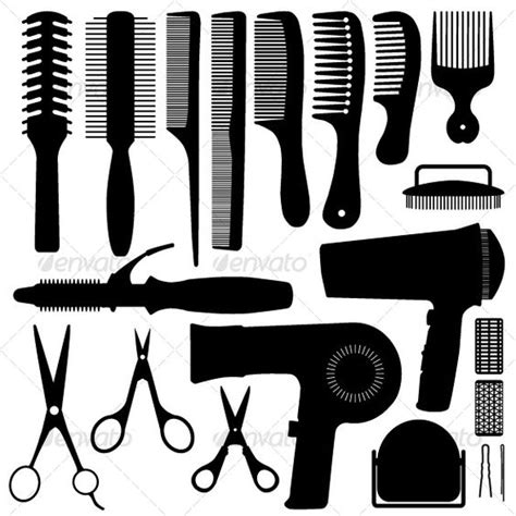 Hair Dryer Gpu Reflow scissors and comb vector item 2 1s hair silhouettes