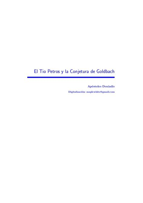 leer el tio petros y la conjetura de glodbach en linea gratis el tio petros y la conjetura de goldbach