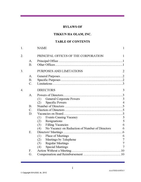 501c3go Bylaws Table Of Contents 501c3go 501c3go C Corp Bylaws Template
