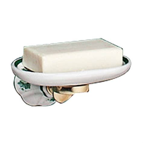 vintage wall mount soap dish white green porcelain tray