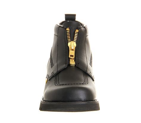 Kickers Zipper Original kickers kick hi zip exclusive black leather gold zip flats