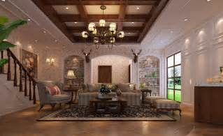 what is country style villa living room decorated in american country style