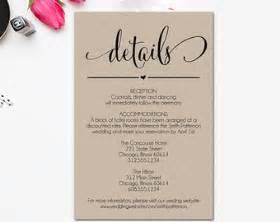 wedding details card exles wedding details card etsy