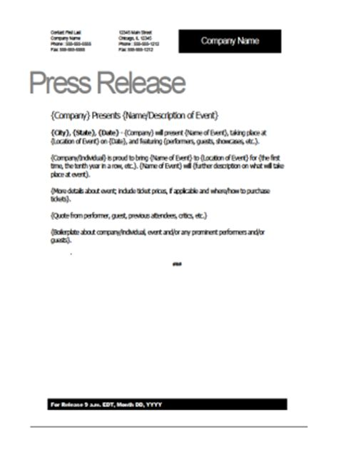 template for press release about event event press release template