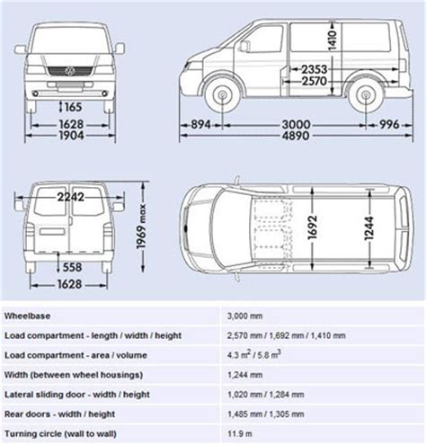 volkswagen caravelle dimensions van and driver hire wirral vehicle dimensions
