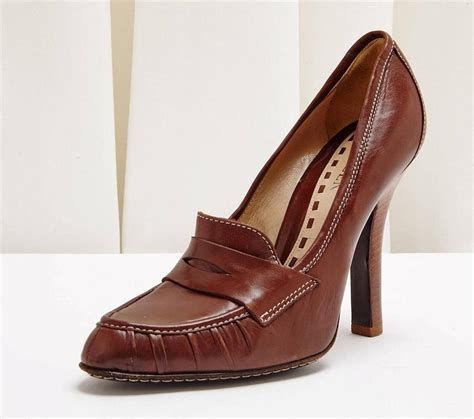 loafer high heels mcqueen brown leather loafer classic high heel