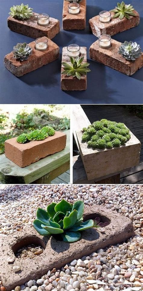diy succulent planter diy succulent planters of used bricks landscaping