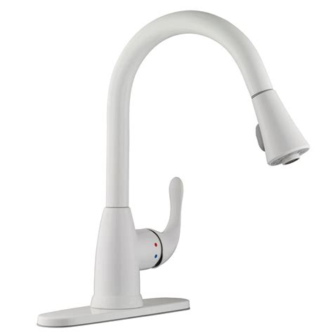 White Kitchen Faucets Glacier Bay Market Single Handle Pull Sprayer Kitchen Faucet In White 67551 0306 The Home