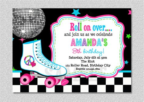 skating invitations templates roller skating birthday invitation rollerskating birthday
