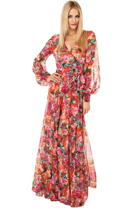 Drss 962 Flowy Roses Maxidress lyst black label tropical print flowy maxi dress