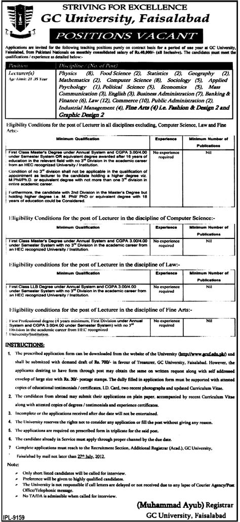 fashion design lecturer jobs teaching staff required at gc university govt job in