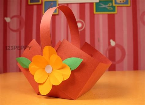 How To Make Flower Basket With Paper - crafts project ideas with tutorials 123peppy