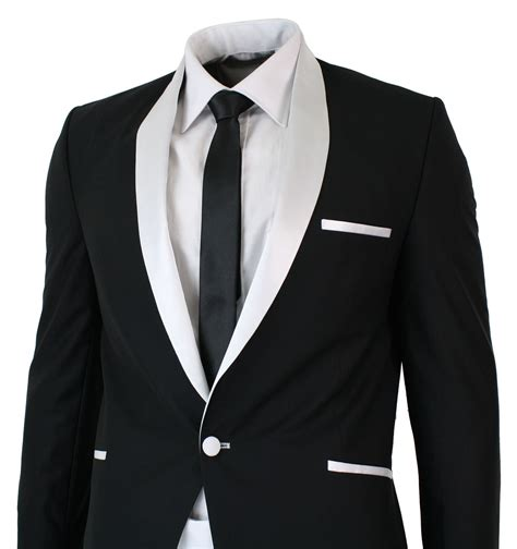 19642 White Black Suit mens white black shawl collar tuxedo dinner suit tailored fit wedding prom ebay