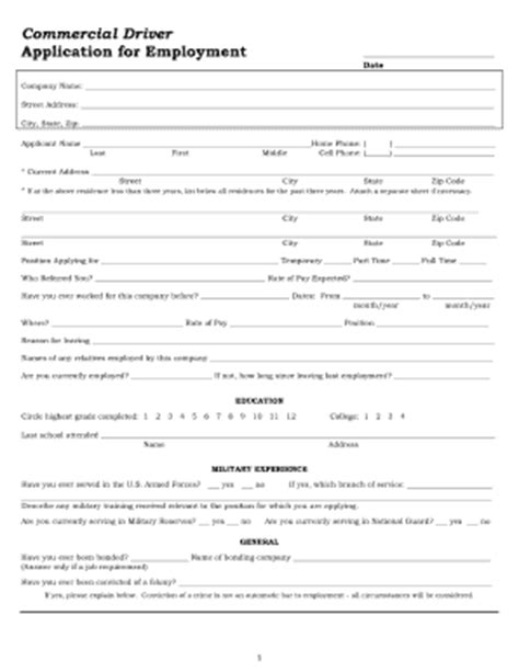 truck driver employment application form template application for driver fill printable fillable
