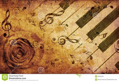 imagenes de notas musicales vintage music background with rose and notes stock illustration
