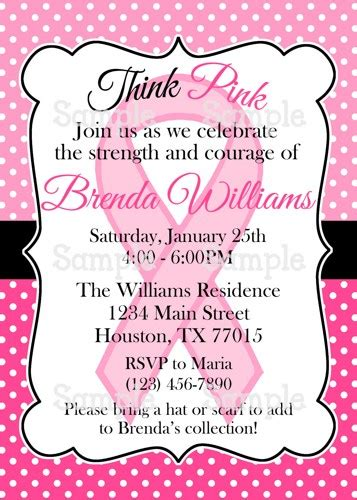Invitation Letter With Ribbon Printable Pink Ribbon Breast Cancer Awareness Invitation Ameraznstyle Digital On
