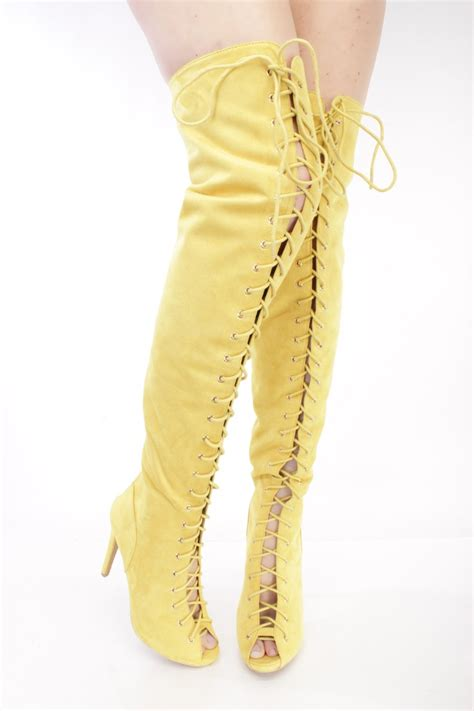 yellow lace up thigh high heel boots faux suede