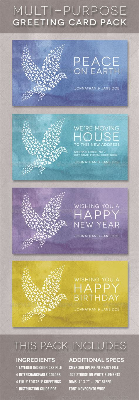 multi photo card template the dove greeting card template multi pack by 83munkis