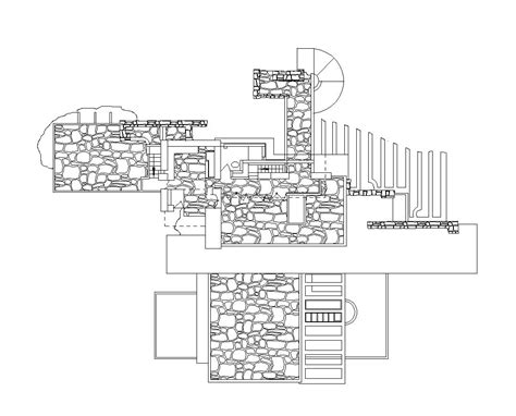 Q Cad Drawing by Falling Water Frank Lloyd Wright Cad Design Free Cad